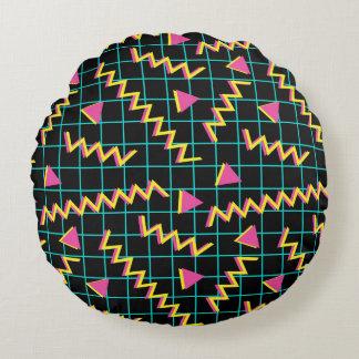 80's/90's Black & Neon Pattern Round Pillow