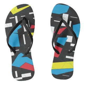 80s 90s geometric pattern black white asymmetric flip flops