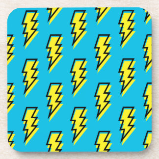80's/90's Neon Blue Yellow Lightning Bolt Pattern Beverage Coaster