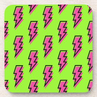 80's/90's Neon Green & Pink Lightning Bolt Pattern Beverage Coaster