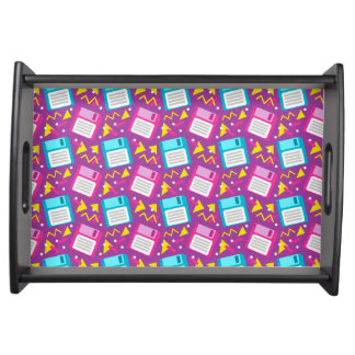 80s 90s Retro Floppy Disk Pink Blue Pattern Serving Tray