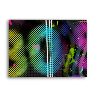 80's Bash Retro Rainbow Splash Birthday Party Envelope