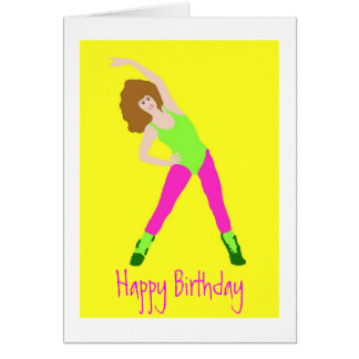 80s birthday with pink tights and green leotard greeting card