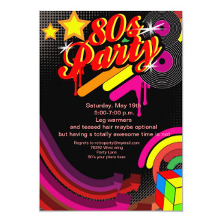 80s bling disco party invitation