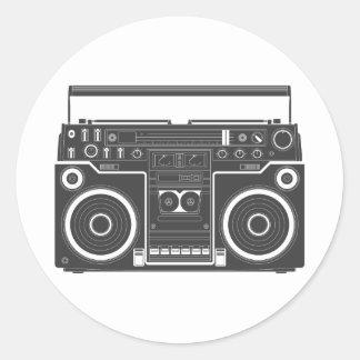 80s Boombox Etiquetas Redondas
