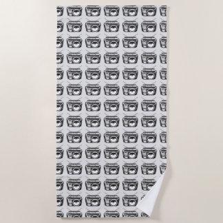 80s Boombox Grey Pattern Beach Towel