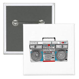 80s boombox illustration 2 inch square button