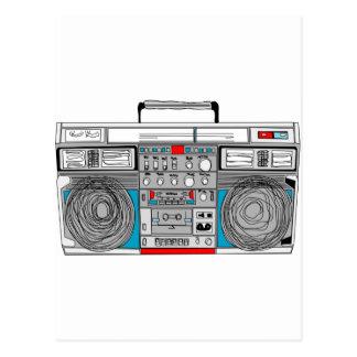 80s boombox illustration postcard