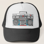 "80s boombox illustration trucker hat<br><div class=""desc"">Inspired by 80s retro music technology,  a digital illustration cartoon style</div>"