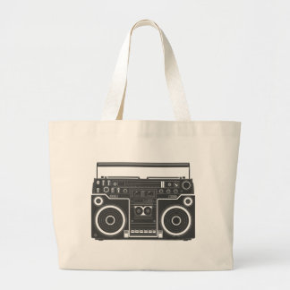 80s Boombox Large Tote Bag
