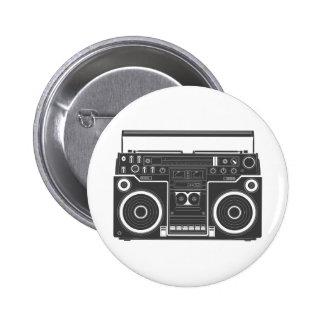 80s Boombox Pin Redondo De 2 Pulgadas