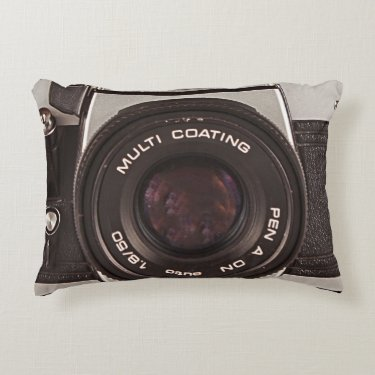 80's camera accent pillow