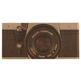 80's camera wood USB flash drive
