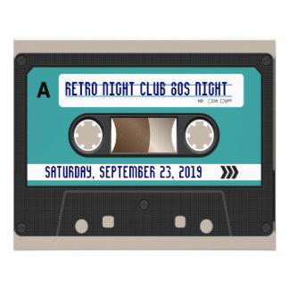 "80s casete retro Mixtape personalizado Folleto 4.5"" X 5.6"""