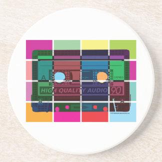 80's Cassette Color Blocks Drink Coaster