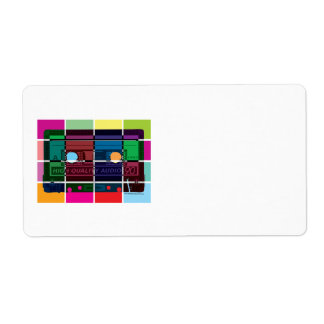 80's Cassette Color Blocks Personalized Shipping Labels