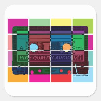 80's Cassette Color Blocks Square Stickers