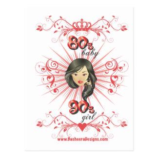 80s chica del bebé 90s tarjeta postal