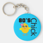 80's Chick Basic Round Button Keychain