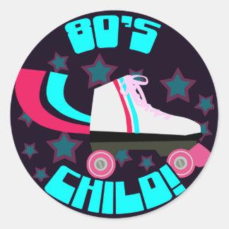 80's Child Round Stickers