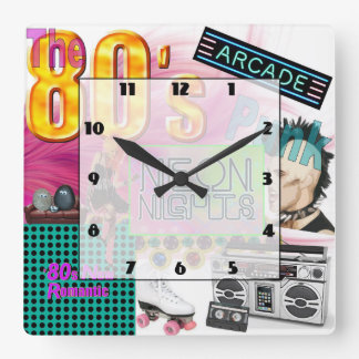 80s Collage Square Wall Clock