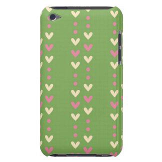 80s corazones retros rosa e isla justa rayada verd barely there iPod protectores