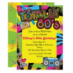 80's Eighties Birthday Party Retro Invitation