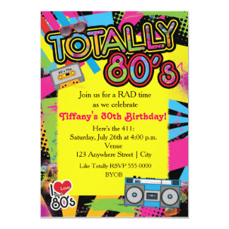 "80's Eighties Birthday Party Retro Invitation 5"" X 7"" Invitation Card"