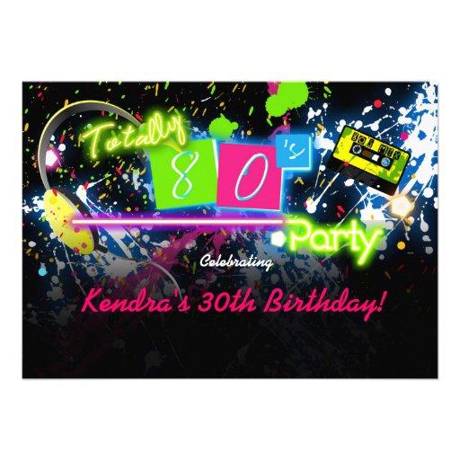 80's Eighties Neon Paint Glow Party Invitation Invite