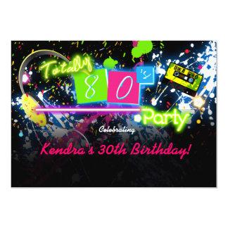 80's Eighties Neon Paint Glow Party Invitation
