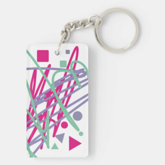 80s eighties vintage colors splash medley art girl keychain