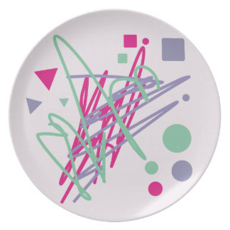 80s eighties vintage colors splash medley art girl plate