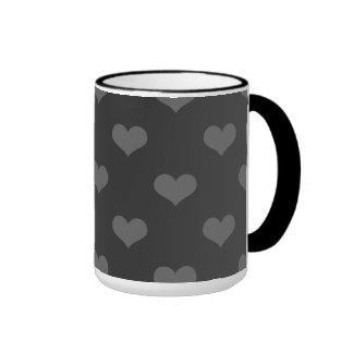 80s flannel gray hearts emo girly goth pattern ringer coffee mug