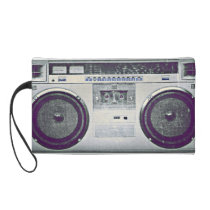 street, fashion, funny, music, urban, boombox, girly, bagettes bag, hip hop, rap, vintage, ghetto blaster, bag, zazzle gift, 80's, wristlet, [[missing key: type_bagettes_ba]] with custom graphic design