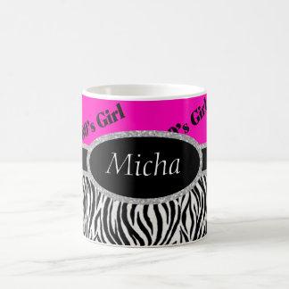 80's Girl Neon Pink & Zebra Monogram Coffee Mug