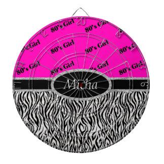 80's Girl Neon Pink & Zebra Monogram Dartboard With Darts