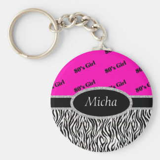 80's Girl Neon Pink & Zebra Monogram Keychain