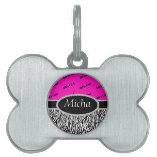 80's Girl Neon Pink & Zebra Monogram Pet Name Tag