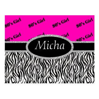 80's Girl Neon Pink & Zebra Monogram Post Card