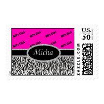 80's Girl Neon Pink & Zebra Monogram Postage