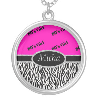 80's Girl Neon Pink & Zebra Monogram Silver Plated Necklace