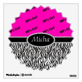 80's Girl Neon Pink & Zebra Monogram Wall Sticker