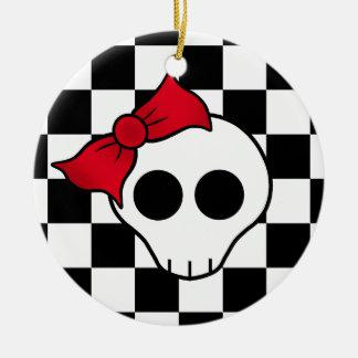 80s girly skull ceramic ornament