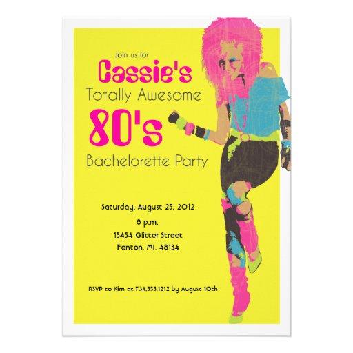 80's Glam Personalized Invitation
