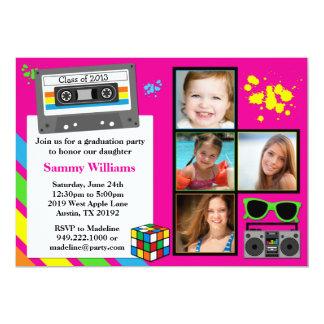 "80's Graduation Party Invitation Class of 2013 5"" X 7"" Invitation Card"
