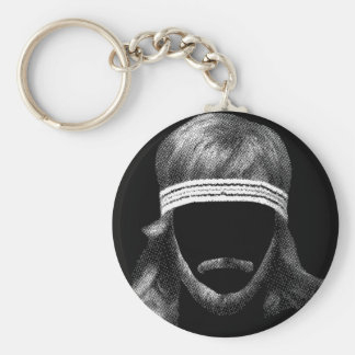 80's hairstyle basic round button keychain