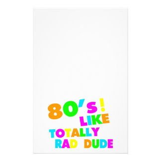 80's Like Totally Rad Dude Neon Stationery