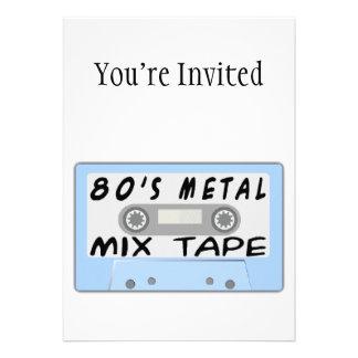 80s Metal Mix Tape Cassette Custom Invite