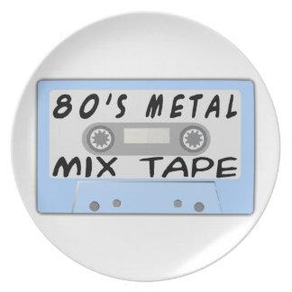 80s Metal Mix Tape Cassette Melamine Plate