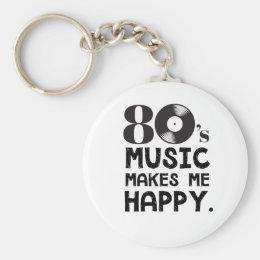 80S Music Make Me Happy Keychain